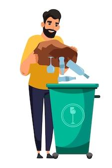 쓰레기 탱크 컨테이너에 유리 제품을 던지고 웃는 남자. 폐기물 분류 및 관리. 흰색 배경에 고립 된 친환경 인간입니다. 생태 및 환경 보호