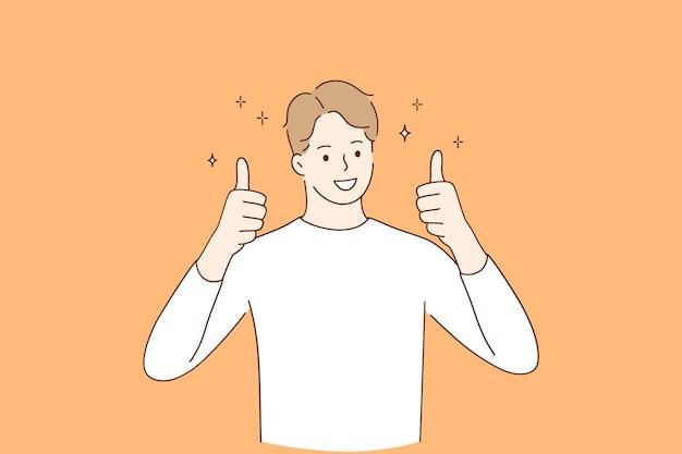 웃는 남자 캐주얼 옷을 입고 만화 캐릭터 서 긍정적 인 제스처를 엄지 손가락을 보여주는