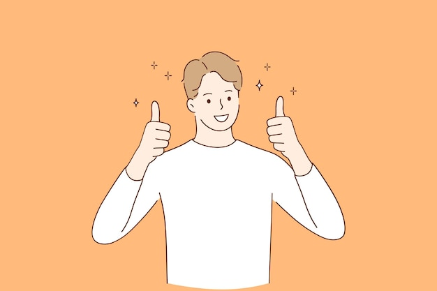 Smiling man wearing casual clothes cartoon character standing and showing thumbs up positive gesture