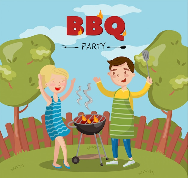 Smiling man and woman cooking barbecue on the backyard, bbq party   illustration with flaming grill