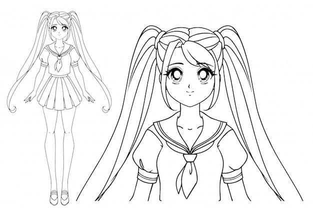 大きな目と日本の制服を着た2つのおさげ髪の笑顔の漫画の女の子。手描きの背景イラスト。分離されました。