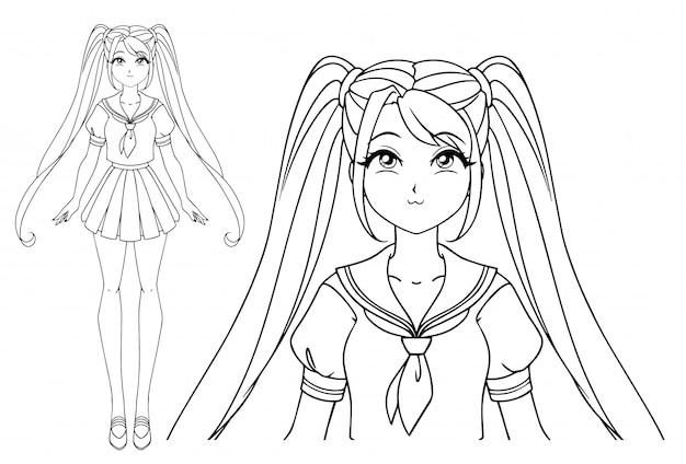 大きな目と日本の制服を着た2つのおさげ髪の笑顔の漫画の女の子。