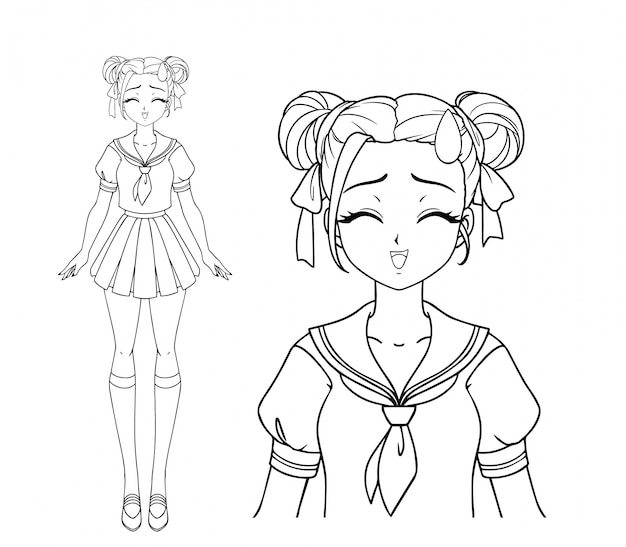 Smiling manga girl with closed eyes and two pigtails wearing japanese school uniform. hand drawn vector illustration. isolated.