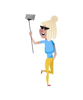 Smiling mature woman doing selfie character.