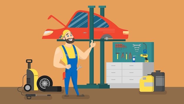 Smiling mechanic in uniform standing in front of red car. automobile repair service. making engine diagnostic.  illustration .