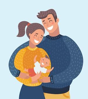 집에서 신생아 딸을 들고 웃는 어머니와 아버지
