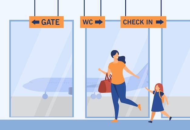 웃는 엄마와 공항에서 실행하는 소녀. 수하물, 비행기, 게이트 평면 그림