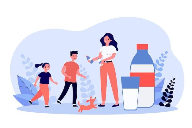 아이들에 게 병에 우유를주는 웃는 어머니. 음료, 개, 칼슘 평면 그림. 건강 음료 및 영양 개념