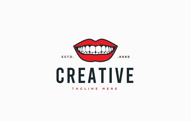 Smiling mouth showing teeth logo design template