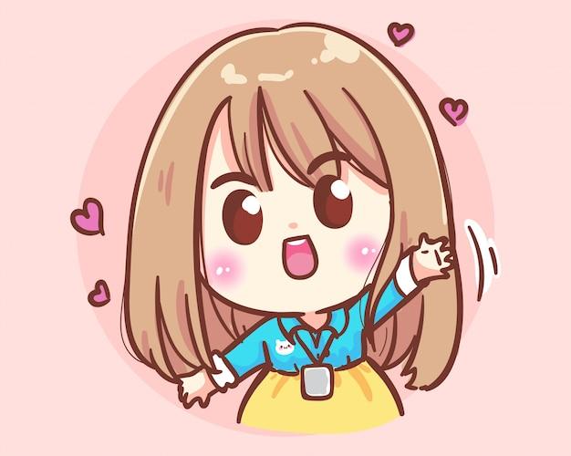 Smiling office women hand up. office cute girl cartoon art illustration