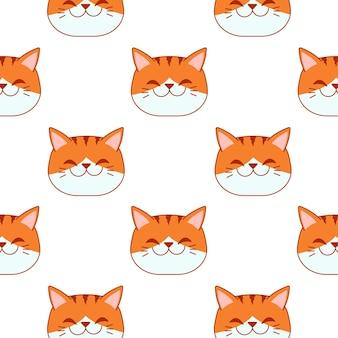 베개에 대 한 흰색 배경 패턴에 완벽 한 패턴에 웃는 오렌지 고양이 얼굴