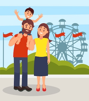Smiling parents standing together, little son sitting on fathers shoulders, family posing on the background of ferris wheel in amusement park  illustration