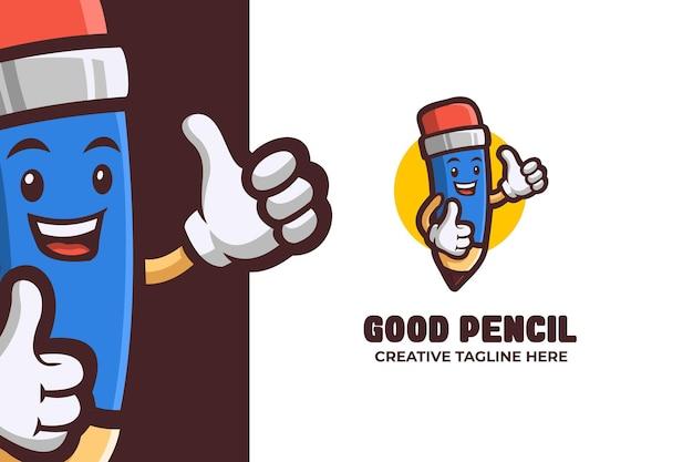 웃는 연필 교육 마스코트 로고