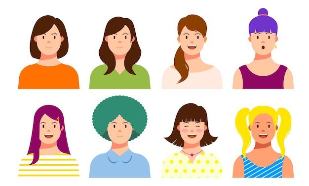 笑顔の人アバターセット。さまざまな男性と女性のキャラクターコレクション。孤立したベクトル図。