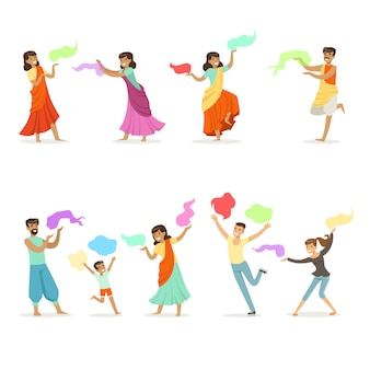 インドの民族衣装を着て踊る人々の笑顔。インド舞踊、アジア文化、漫画の詳細なカラフルなイラスト
