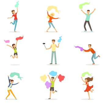 ショールセットで踊る人々の笑顔。漫画の詳細なカラフルなイラスト
