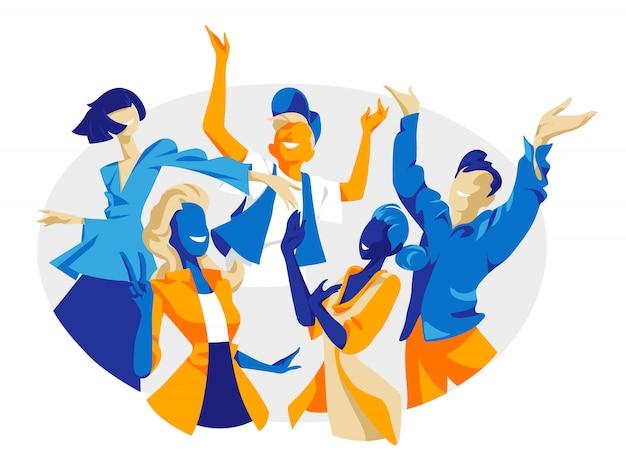 喜び、幸福、満足感、前向きな感情を表す笑顔の人々。男性と女性のキャラクターの応援を祝う