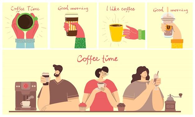 Улыбающиеся люди друг пьют кофе и говорить. кофе тайм, перерыв и отдых концепции карты.