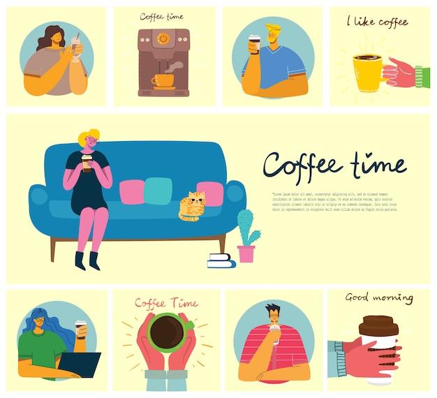 Улыбающиеся люди друг пьют кофе и говорить. кофе тайм, перерыв и отдых вектор концепция карты