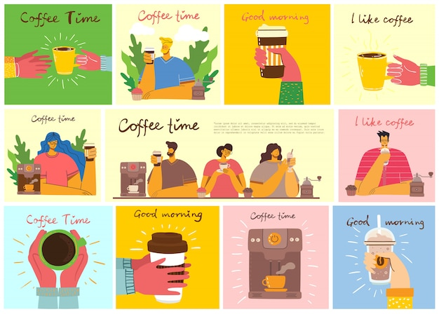 Smiling people friend drinking coffee and talking. coffee time, break and relaxation concept cards. illustration in flat design style