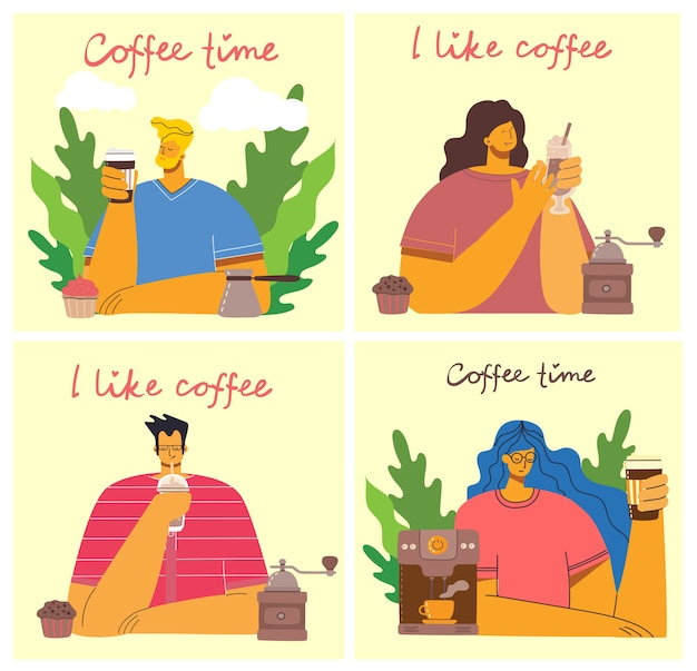 Smiling people friend drinking coffee and talking. coffee time, break and relaxation concept cards. illustration inflat design style