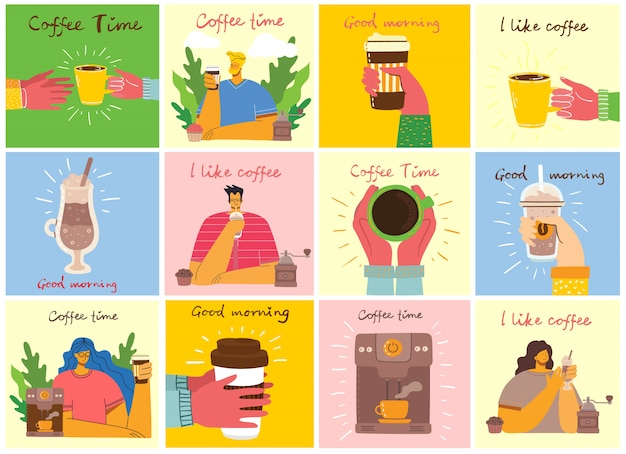 Smiling people friend drinking coffee and talking. coffee time, break and relaxation concept cards. illustration in lat design style