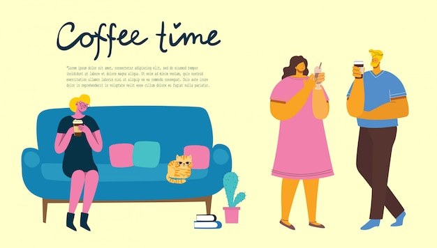 Smiling people friend drinking coffee and talking. coffee time, break and relaxation vector concept cards