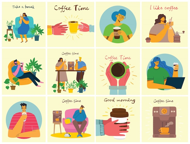 Smiling people friend drinking coffee and talking. coffee time, take a break and relaxation vector concept cards. vector illustration in modern flat design style