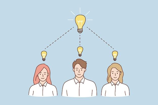웃는 사람들은 함께 사업 아이디어를 해결한다고 생각합니다.