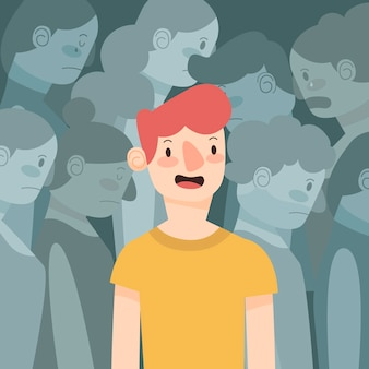 Smiling person in crowd concept for illustration