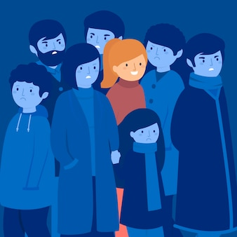 Smiling person in crowd concept