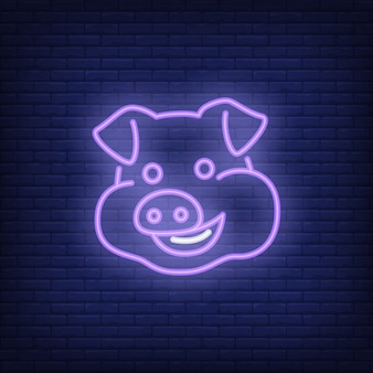 Smiling pig cartoon character. Neon sign element. Night bright advertisement.