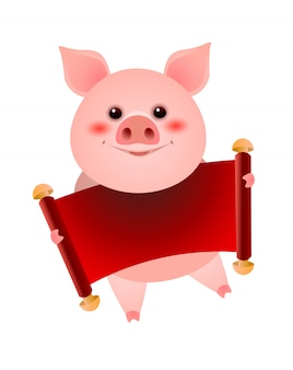 Smiling pig holding blank red banner illustration