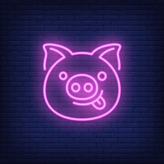 Smiling pink pig cartoon character. neon sign element. night bright advertisement.