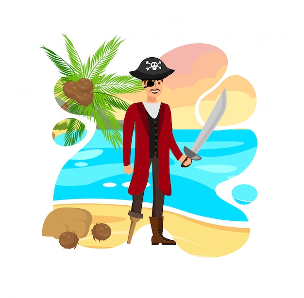 Smiling pirate captain vector color illustration