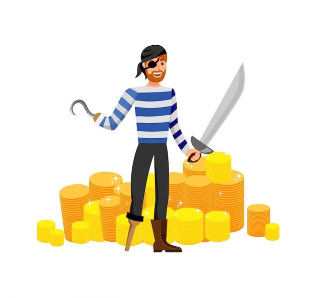 Smiling pirate, treasure hunter flat illustration