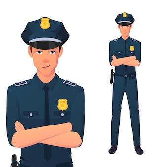 腕を組んで立っている笑顔の警官