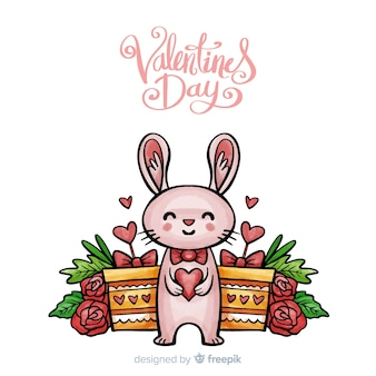 Smiling rabbit valentine's day background