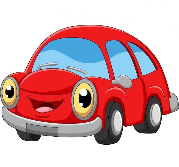 Улыбающийся мультфильм красный автомобиль на белом