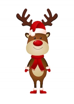 Smiling reindeer wearing santa hat and scarf illustration