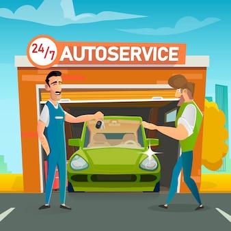 Smiling repairman giving key to happy car owner