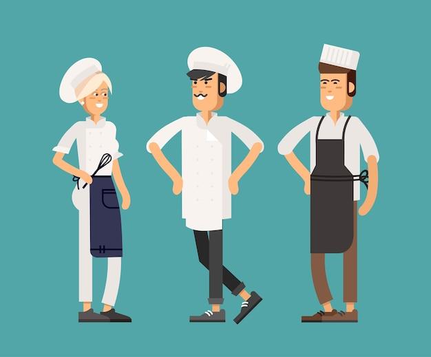 Улыбающийся шеф-повар ресторана с помощниками. кейтеринг персонажей персонала кухни