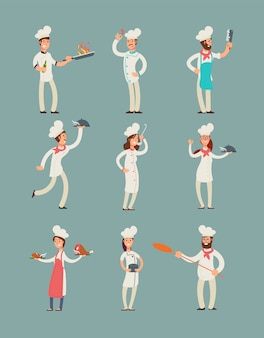 Smiling restaurant chefs, professional cooks in kitchen uniform  cartoon characters set