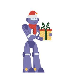 Smiling robot in santa hat holding christmas gift box flat vector illustration. isolated on white.