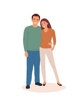 ロマンチックなカップルの笑顔。若い女性と男性が一緒に抱きしめて立っています。フラットスタイルの漫画のベクトル図です。