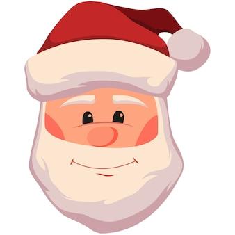 笑顔のサンタクロースの顔のイラスト。白で隔離のクリスマスサンタクロースの頭