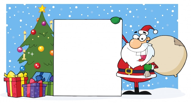 Smiling santa claus presenting a blank sign and christmas tree