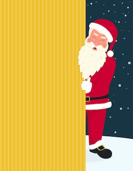 Smiling santa claus wearing red hat and glasses holds a banner with merry chrismas and happy new year text. greeting card or flyer template design with copy space on yellow background