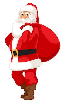 Smiling santa with a bag of gifts
