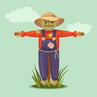 Smiling scarecrow in garden with clouds